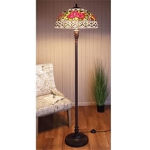 Stained Glass Rose Floor Lamp