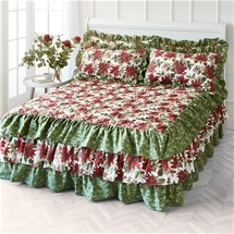 Seasonal Poinsettia Bedspread